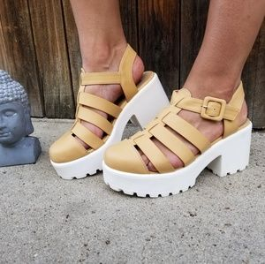 Beige Chunky Lug Sole Platform Gladiator Shoes